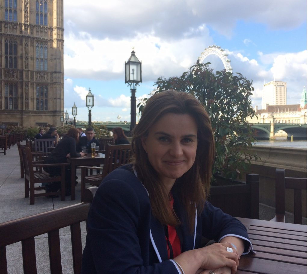 Jo Cox on the House of Commons terrace, 2015 Courtesy of The Jo Cox Foundation