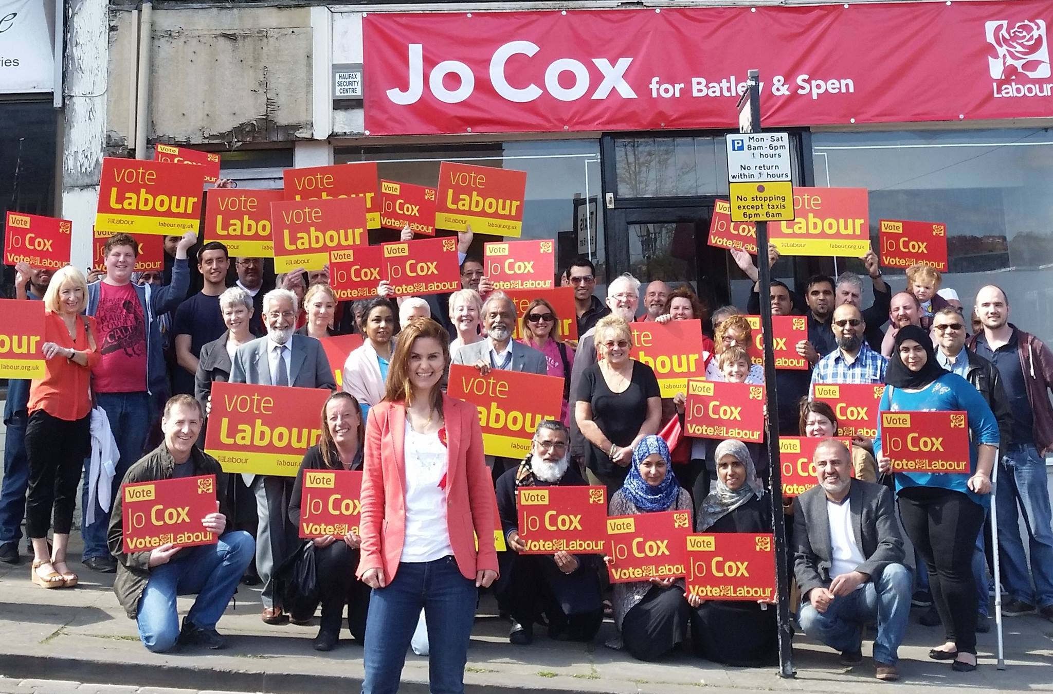 Jo Cox and her campaign team in Batley and Spen, 2015 Courtesy of The Jo Cox Foundation Jo and her team prepare for a weekend of campaigning in the run up to the 2015 general election. Knocking on doors and talking to people was one of the things Jo loved about politics.