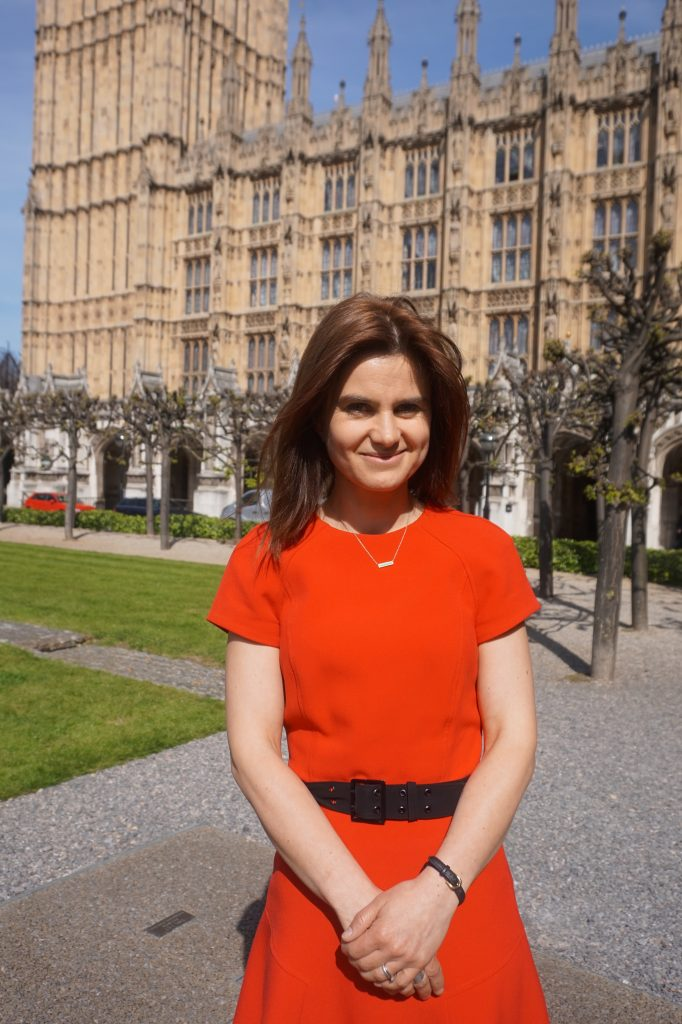 Jo Cox on College Green, Westminster, London, 2015 Courtesy of The Jo Cox Foundation Jo is pictured here on one of her first days as an MP.