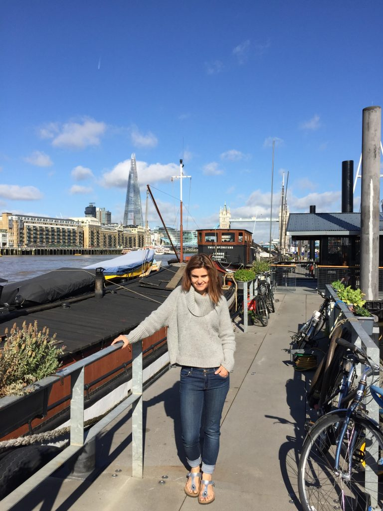 Jo Cox by her mooring, London, 2015 Courtesy of The Jo Cox Foundation Jo lived with her husband and children on a house boat on the River Thames. Jo and Brendan lived on boats throughout their life together. The community on the mooring has been a bedrock of support for her family since her death.