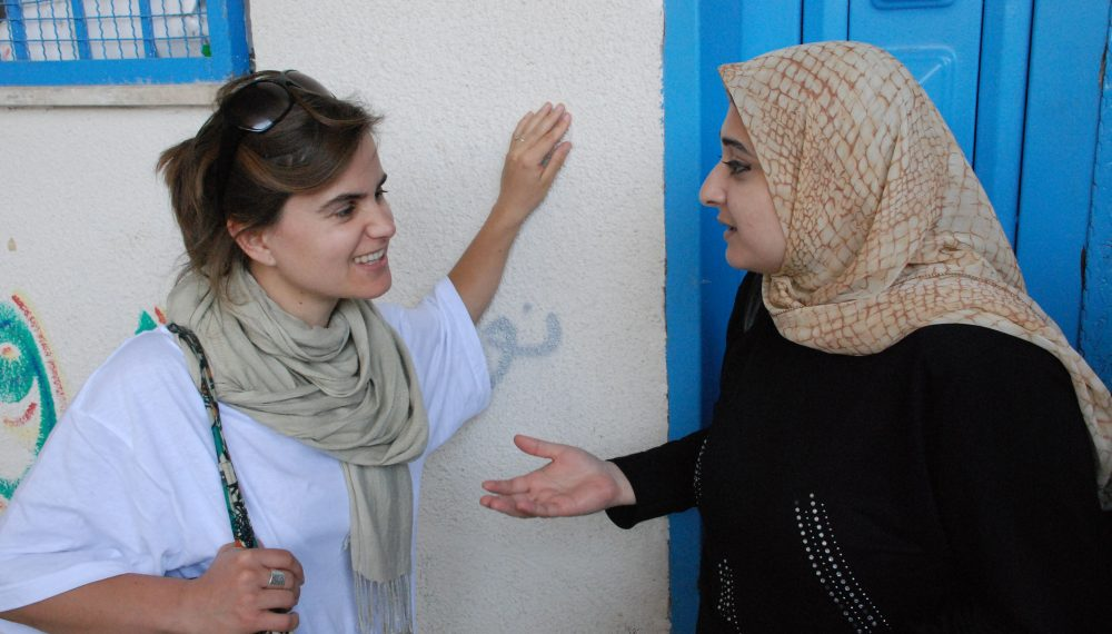 Jo Cox visiting Gaza, Palestine, 2006 Courtesy of The Jo Cox Foundation During her time working for Oxfam International Jo visited Gaza. She believed the international community should play a bigger role to protect civilians from armed conflict.